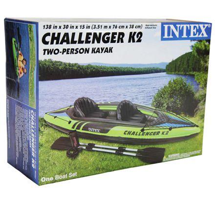 Надуваем двуместен каяк Intex Challenger K2