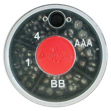 Риболовни тежести за плувка - цепени сачми Dinsmores (мини кутия 4 деления)