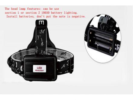 Фенер за глава CREE T6 LED RJ2188 (със зарядно)