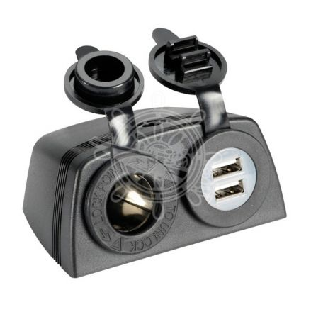 Power Socket + 2x USB + Body for flat mounting