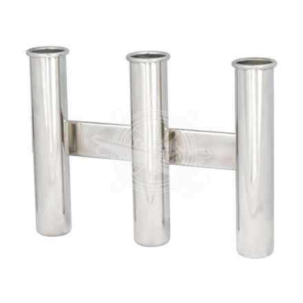 Rod holder 3 rods Inox, wall mount