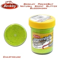 Паста за пъстърва Berkley PowerBait Natural Scent Glitter Bloodworm Chartreuse