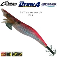 Калмарка Owner Draw4 EXP EGI Squid Jig 3.5 #14 Trick Yellow UV Pink