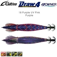 Калмарка Owner Draw4 EXP EGI Squid Jig 3.5 #18 Purple UV Pink Purple